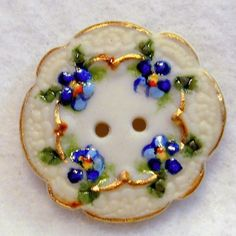 Handcrafted Porcelain Button Blue Doily Scallop Edge Sew ThruFREE US SHIPPING