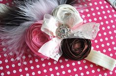 Neapolitan fabric rosette headband