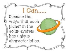 Ohio 5th Grade Earth and Space Science Standards- I Can St