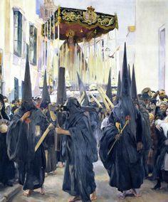 Joaquín Sorolla y Bastida, Penitentes, Semana Santa, Sevilla, 1914