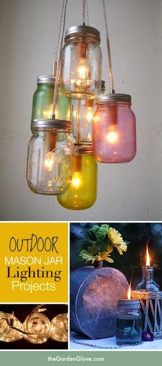 5 Great Outdoor Mason Jar Lighting Projects! via The Garden Glove #porchdecor