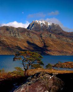 bonni scotland, loch mare, slioch mountain, place, stun scotland