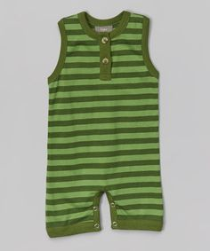 Loving this Green Stripe Organic Romper - Infant on #zulily! #zulilyfinds