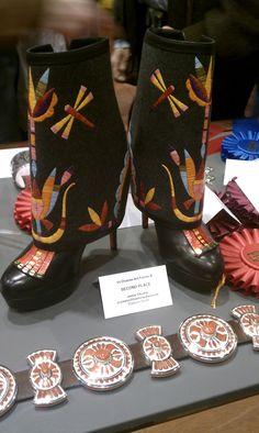 Quilled platform boots by Jamie Okuma (Luiseno/Shoshone/Bannock)