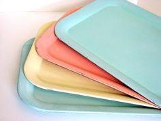 Vintage Pastel Metal Serving Trays Flamingo by sassboxclassics, $48.00