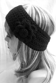 Black Crochet Ear Warmer