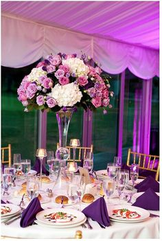Romantic purple wedding centerpieces from Floral Suite