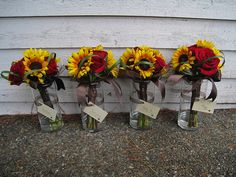 Bridesmaid Bouquets with Roses and Sunflowers by Designs by Courtney, via Flickr