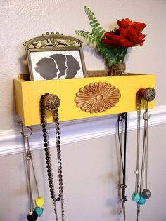 Box Shelf Wall Organizer Wood Yellow mustard Jewelry, makeup wall hanging holder for earrings, necklaces, keys, watches, bathrooms and more