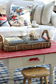 Savvy Southern Style: Mad for Plaid and Red in the Sun Room