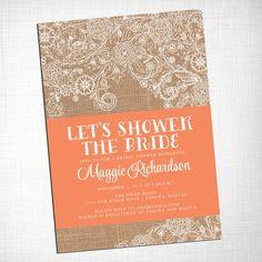 Burlap and Lace Bridal Shower Invitation DIY PRINTABLE