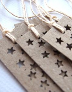 Star Bright Long Gift Tags - set of  6 Fun Tags - Recycled Kraft Cardstock