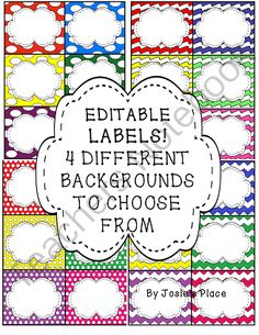 EDITABLE LABELS for your classroom, library, book bins, word walls & more! Bonus included! from Josies Place on TeachersNotebook.com -  - EDITABLE LABELS in 4 different backgrounds for your classroom, library, book bins, word walls and more! Freebie included!