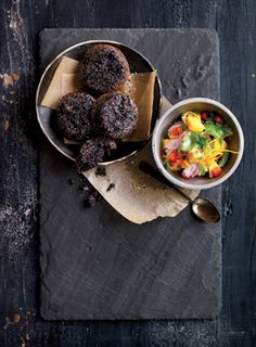 Black Rice Cakes with Mango Salsa