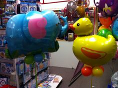 Elephant and Duck supershape helium balloons - Cute!