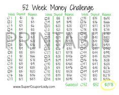 52 Week Money Challenge! Love this way of saving! http://www.supercouponlady.com/2013/12/52-week-money-challenge.html/