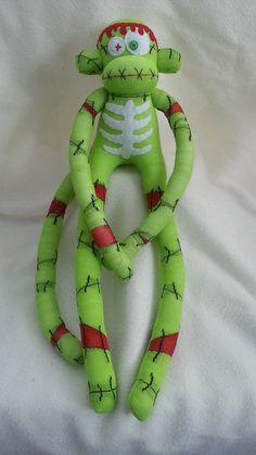 Zombie Sock Monkey Stitch by MunkybunsSockToys on Etsy, $45.00