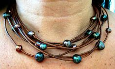 """***LIMITED TIME OFFER****  10% off...Enter coupon code PIN10 upon check out............Diva Tahitian Style Peacock Baroque Fresh Water Pearl & Brown Leather Necklace """"FREE SHIPPING""""   by LeatherDiva, $79.00 baroque, tahitian style, peacock baroqu, baroqu fresh, diva tahitian, style peacock, water pearl, fresh water, divas"""