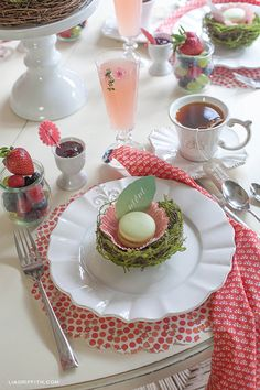 Mother's Day garden brunch: macaron cookies in mossy birds nests with leaf place cards {Handcrafted Parties & Lia Griffith}  #12monthsofmartha