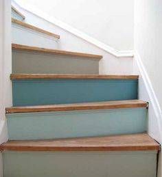 Painted stairs:  risers in multiple shades of blue.