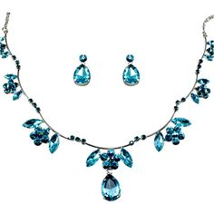 Blue Crystal Drop Prom Bridesmaid Wedding Bridal Fashion Jewellry Jewelry Set SKU-10801084