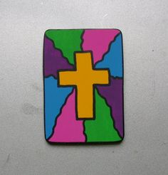 Cross Faux Stained Glass Christian/inspirational by ifrogcrafts