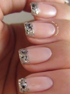 Glitter Added to French Mani #nails #style #wedding www.BlueRainbowDesign.com