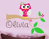 Owl Wall Decals -Childrens Decor Owl Wall Art -  Kids Wall Art Personalized Owl  Name Wall Decal