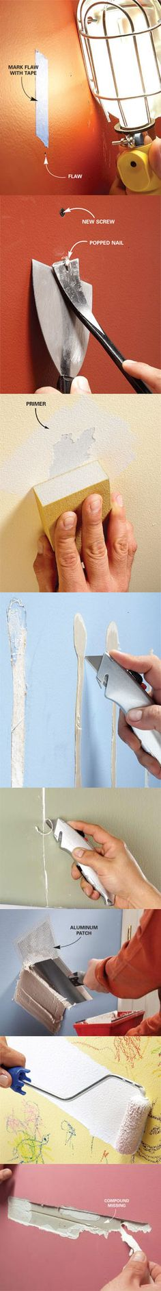 We show you how to fix common wall flaws and make them perfectly smooth before you paint. You'll save the expense of hiring a pro by doing the work yourself. Learn how to get perfectly smooth walls before you paint at http://www.familyhandyman.com/DIY-Projects/Wall---Ceiling/Wall-Repair/preparing-walls-for-painting-problem-walls/View-All