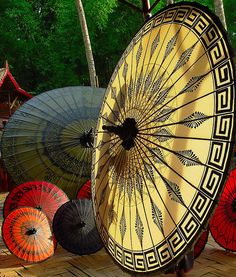 Colourful handmade parasols made in Pathein City, Myanmar (by szin).