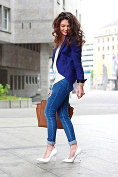 navy blue - FashionHippieLoves Jean, Navi Blue, Fashionhippielov, Blazer Outfits, Heel, White Pump, Shoe