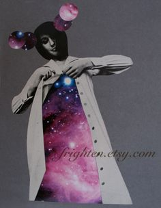 Geometric Space Collage  Colorful Cosmic Gray and by frighten, $70.00