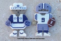 Dallas Cowboys Inspired Player and Cheerleader by Hunibears, $4.00 hunibear cloth, cowboy player, cheerlead hunibear, ornament pattern, plastic canvas, cowboy inspir, dallas cowboys, canva ornament, dalla cowboy