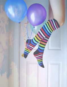 color stripe, color sock, feet, colorful socks, crazy socks, balloon, rainbow, stripe sock, ballon