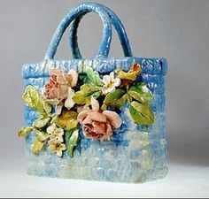 Basket by Lefront 19th c. by My Beautiful Barbotine, via Flickr