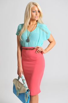 Belted bodycon pencil skirt    Add a pop of colour with this must-have coral pencil skirt. Highlight your sultry curves by tucking in a top or blouse. $20.00