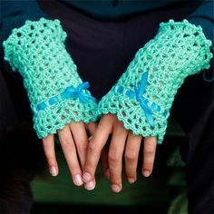Crochet Wrist Warmers with Lace Edging - PDF PATTERN