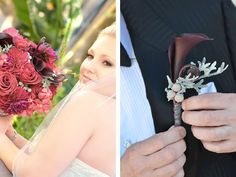 The bride's unique bouquet in shades of deep reds and burgundy coordinates with her groom's burgundy calla lily boutonniere!