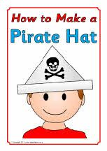 Picture steps for how to make a Pirate hat