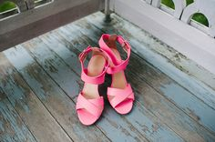 hot pink wedding shoes! photo by Veronica Varos http://ruffledblog.com/fallingwater-barn-wedding #weddingshoes #heels