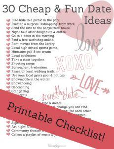 30 Cheap & Fun Date Ideas (& Printable Checklist!) - TriciaGoyer.com