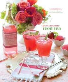 Spiked strawberry iced tea. Floral by Cole Dewey Designs. Photo by Tammy Odell Photography. #wedding #cocktail #strawberry #editorial