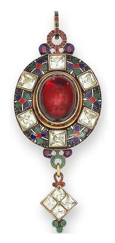 A garnet, chrysoberyl and enamel Holbeinesque pendant, circa 1870