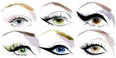 beauty tips, makeup eyes, eye makeup, eye colors, cat eyes