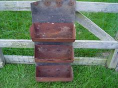 One Of A Kind  Rusty Grain Auger Wall Hanging Bins by GandTVintage, $75.00