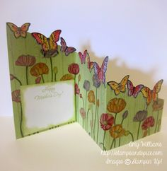 How to make Z fold card,  pleasant poppies, butterfly punch, papillion potpourri