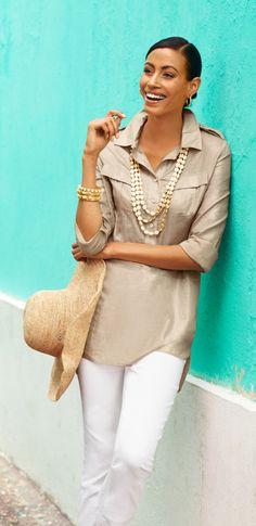 The Long Shirt: Layer it over white denim. #DestinationFabulous #travel #spring #chicos