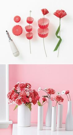 DIY: cupcake liner flowers - Fun rainy day activity!