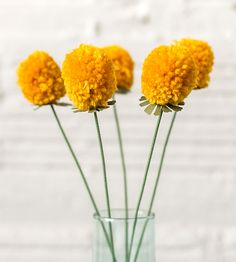 Pomdelions Yellow Yarn Flowers