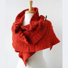 Elena Rosenberg's hand-knit Rococo Shawl / wood shawl pin by HeartFelt Silks